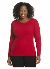 LANE BRYANT REFINED RIBBED SWEATER SIZE 14/16 RED T-2 plus size sale