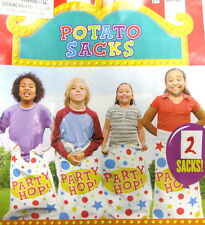 2 pcs WOVEN POLY POTATO SACK RACE HOP BAGS CARNIVAL PARTY GAME ACTIVITY CHILDREN