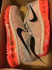 NIKE FLYKNIT MAX WOMEN SHOES GRAY VIOLET ORANGE 8.5 NEW 620659-508 360 AIR