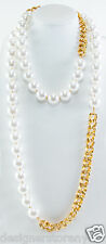 "Kenneth Jay Lane 60"" Gold Link with white pearl necklace 8427NGWP"