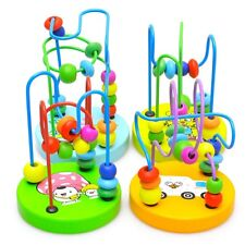 Colorful Wooden Toys Mini Around Beads Wire Maze Children Baby Educational Game