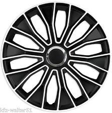 Für Peugeot 16 Zoll Radzierblenden / Radkappen VOLTEC BLACK & WHITE SCHWARZ