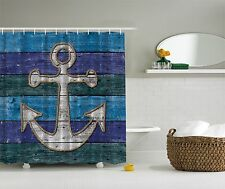 Teal Blue Navy Nautical Anchor Beach Fabric Shower Curtain Digital Art Bathroom