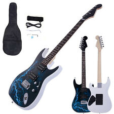 New Black White Lightning Beginner Practice Right-Handed Electric Guitar Set