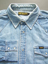 Lee Western Denim Shirt Men's Large XL Extra Blue Pearl Snap Buttons Vtg LSHz450