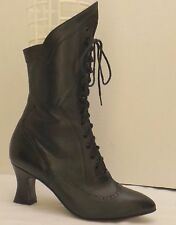 sz 10 B vintage 80's black leather ARTIN lace-up ankle wing-tip granny boots
