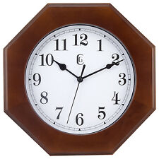 "9152G Geneva Clock Company 9.5"" Wood Analog Quartz Wall Clock"