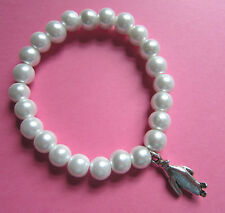 Christmas Faux White Pearl Glass Bead Silver Penguin Bracelet New in Gift Bag
