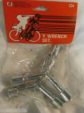 BICYCLE Y WRENCH SET by RAND STEEL CHROME FINISH  2 LOT METRIC BIKE WRENCHES
