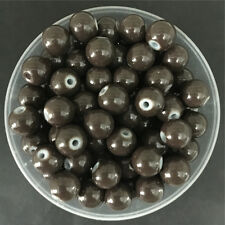 Wholesale 4mm 100 PCS Brown Glass Round Pearl Spacer Loose Beads Jewelry Making