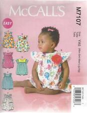 McCALL'S SEWING PATTERN INFANTS ROMPERS SIZES NBN - XIG   M7107