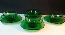 Set of 4- Vintage Vereco France GlassWorks Green Glass Cups w/Saucer Underplates
