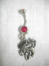 PRETTY PONY PRANCING 2 SIDED CHARM ON DBL FUSCIA PINK CZ BELLY RING NAVEL BAR