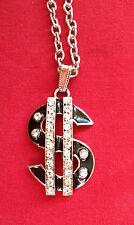 Funky buscando impresionante Diamante Plateado Plata Leyenda símbolo del Dolar Colgante Regalo