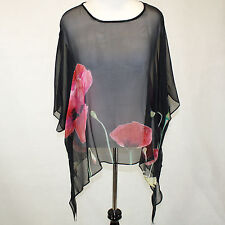 NWT Cocoon House Wearable Art Midnight Poppies Sheer Silk Pointed Top Large / XL