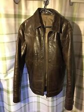 Vintage Mens Brown Real Leather Jacket Small 38 Chest 60s 70s