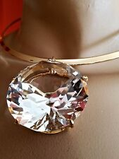 ~HUGE COCO DIAMANTE Crystal Cabochon Stone Choker Pendant NECKLACE Gold CoLLar