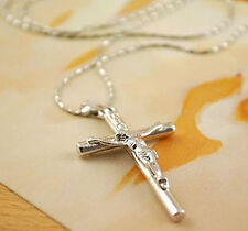 NEW MENS/LADIES SILVER CROSS NECKLESS WITH CHAIN GREAT GIFT