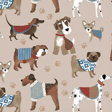 Dog Show Dogs Beige Puppies Paw Prints Animal Fleece Fabric Print A222.01