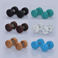 12pc Cheater Ear Gauge Wood+Stone Expander Kits Fake Ear Plugs