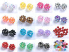 Lots 10PCS Sparkling AB Resin Rhinestones Round Ball Spacer Beads Pick 12MM