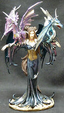 TWIN DRAGON FAIRY Perched on Her Arms  H10.25''   Statue Figure