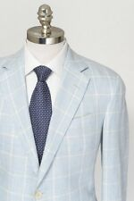 OXXFORD Capitol N2 Blue Plaid Linen Wool Unconstructed 2Btn Coat Jacket 42 R NWT