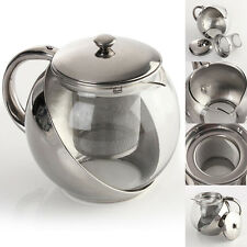 900ML Stainless Steel Glass Teapot Herbal Infuser Tea Leaf Filter Strainer Pot
