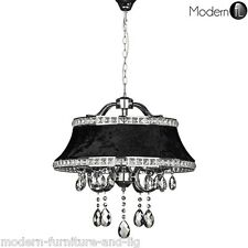 CHROME AND CRYSTAL DROPLET 4 LIGHT CHANDELIER WITH BLACK VELVET DIAMANTE SHADE