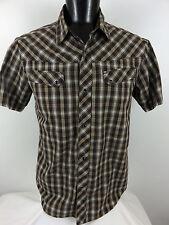 SPLIT Clothing men's Brown White  Plaid  Pearl Snap Shirt MX   motocross sz XL ?