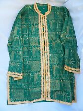 Egyptian Cotton Women Green Pharaoh Jacket Blouse Large Gold Embrodery