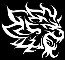 A tribal lion decal or vinyl cut sticker glossy white.