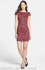 French Connection Red Black Animal Printed Pencil Shift Wiggle Party Dress 10 38