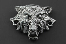 LARGE 3D EVIL WOLF HEAD  METAL BELT BUCKLE