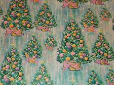 VTG CHRISTMAS WRAPPING PAPER GIFT WRAP MCM 1950 TREE STAR GREY BLUE PINK PRETTY