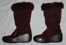 Chocolate Brown Sparkle Knit Boots Junior Girls 4 5 Tall Shoes Winter Buckle