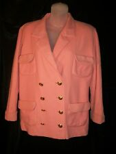 Very Early Chanel Peach Wool Jacket Script CC Buttons Med Classic As is