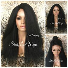 Long Yaki Kinky Straight Lace Front Wig Jet Black #1 Side Part Layered Heat Safe