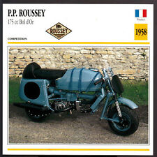 1958 P.P. Roussey 175cc Bol d'Or Scooter Moped Motorcycle Photo Spec Sheet Card