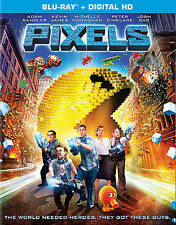 Pixels (Blu-ray Disc, 2015) Adam Sandler Kevin James NEW