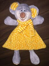 1Stck KIK Schmusetuch Kuscheltuch Rassel Kopf Maus Mouse Orange Gelb Kleid Grau