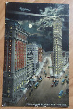 1920 POSTCARD OF TIMES SQUARE BY NIGHT TIME NEW YORK CITY 7TH & BROADWAY