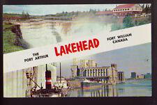 CANADA Ontario Lakehead Port Arthur Fort William 1957 Old Vintage Postcard