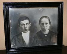 GRAN FOTOGRAFIA ANTIGUA DE MATRIMONIO EN MARCO DEL SIGLO XIX