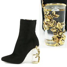 sz 36 NEW $1490 ROBERTO CAVALLI Black Suede GOLD FLORAL CLEAR HEELS Ankle BOOTS