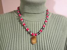 ARTISAN HANDCRAFTED RED CORAL & SMOKY QUARTZ  GEMSTONE BEAD  NECKLACE
