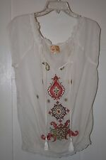 FOREVER 21 WHITE PEASANT BLOUSE - Size large