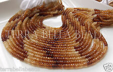 "Full 12.5"" strand shaded HESSONITE GARNET faceted gem stone rondelle beads 4mm"