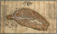 1880 LARGE HISTORIC WALL MAP TAIWAN CHINA