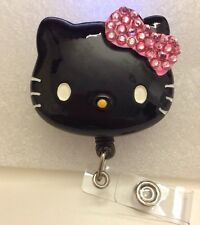 "Bling Hello Kitty 45mm / 1.9"" Retractable Reel ID Badge Holder_blk_pink Bow 1pc"